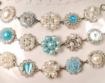 OOAK Powder Blue & Ivory Bridal Bracelet 1/SET Pearl Rhinestone Vintage Earring Bracelet Silver Light Aqua Bridesmaid Gift, Romantic Wedding