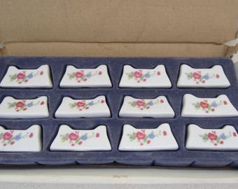 Set of 12 Vintage Knife Rests in Original Box White with Pink and Blue Flower Design Table Decor Chop Stick Holders