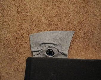 Grichels leather bookmark - light gray with custom dark blue confetti eye
