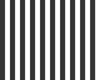SALE Riley Blake Fabric Black and White Stripes Half Inch FREE SHIPPING