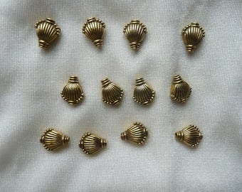 Bead, Antiqued, Gold Finished, pewter, zinc based alloy, 11x9mm, double sided, shell, Pack of 6