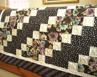 Homemade Quilt, Handmade Quilt, Floral Quilt, Lap Quilt,  Home Decor , Quilted Throw, Pieced Quilt, Patchwork, Brown Floral Quilt, Dots