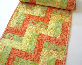 Quilted Table Runner, Batik Table Runner, Table Runner, Handmade Tablerunner, Home Decor, Table Decor, Orange Yellow Green, Spring, Summer