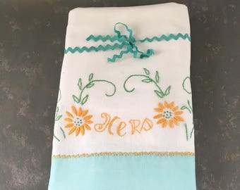 Vintage Embroidered Pillowcases, His Hers, Bride groom,aqua, yellow, white