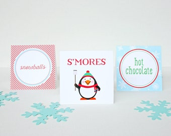 Folded Food Cards in Penguin Design - Birthday Party Food Tent Cards - Winter ONEderland Party Food Tents
