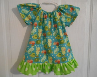 Girls peasant dress elephant with elastic or flutter sleeves & ruffle of your color choice infant thru 8 years