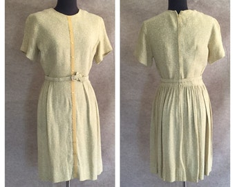Vintage 60's Dress, Pale Green Knit, Short Sleeve, Pleated Skirt,  Women's Size Small, Bust 36, Waist 25