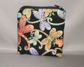 Coin Purse - Gift Card Holder - Card Case -Small Padded Zippered Pouch - Mini Wallet - Dragonfly - Jewel Tones