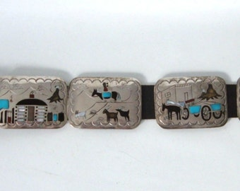 Navajo Storyteller Belt 9 panels Multi Stone Inlay Sterling Silver Becenti Signed Vintage 453 g