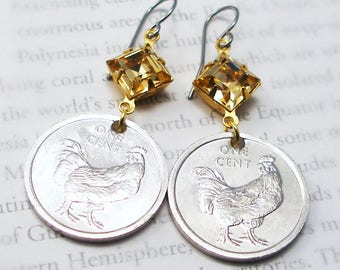 Cook Islands, Authentic Coin Earrings --- Wild Chicken --- Travel Gifts -