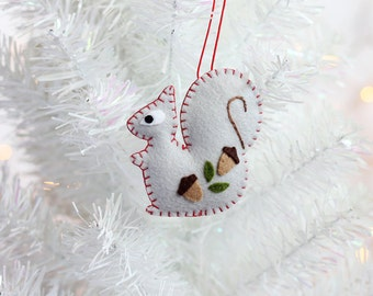 Squirrel Ornament, Handmade Christmas Ornament, Holiday Decoration, Animal Ornament, Christmas Decor, Hand-stitched, ready to ship