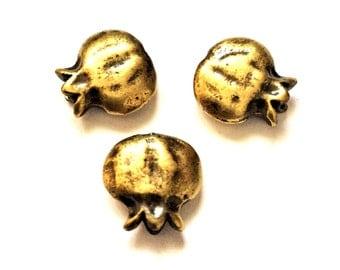 Golden Pomegranate Beads - Set of Three