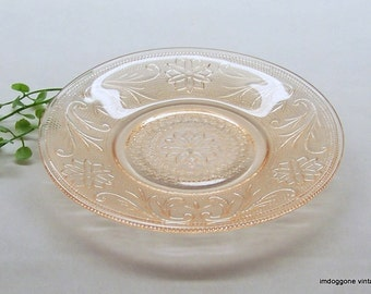 Vintage Indiana Glass Tiara 'Sandwich - Peach' Saucer, Pink Sandwich Glass Dessert Plate, Farmhouse Decor, Girl's Room Vanity Dish