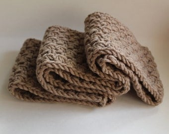 Taupe Crochet Scarf, Infinity Crocheted Taupe Scarf, Taupe Cowl, Taupe Scarf, Light Brown Scarf, Chunky Taupe Scarf, Taupe Cowl Scarf