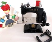 "Singer ""Sewhandy""  MODEL 20 Toy Sewing  Machine, 1950's, Table Top w/ Hand Crank, Black Enamel , Cast Iron w/ Chrome Sewing Plate, C Clip"