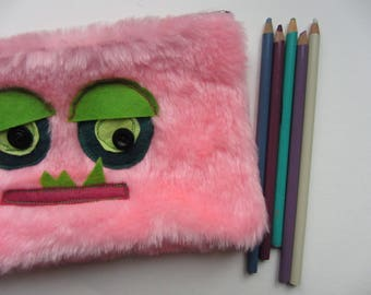 Upcycled Furry Monster Pencil Case, Monster Pen Case, School Supplies, Back to School, Monster Pencil Pouch, Pink Monster, Kids Pencil Bag