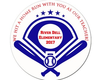 Personalized School Teacher MVP Baseball Themed Stickers