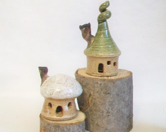 Fairy Houses - Garden Houses - Set of 2 - New Houses out of the Kiln  - Actual Set -  Ready to Ship -- Handmade on Potters Wheel