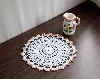 Cottage Decor Crochet Lace Doily, Chic Table Accessory, White, Light Peach, New Home Decor, Original Design