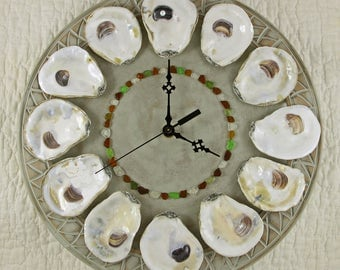 Oysters on the Half Shell Wall Clock - Moss Green