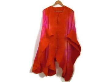 silk poncho with felted edges, orange pink hand dyed felted silk shawl