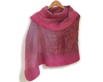 felted silk shawl, cherry red, pink, felted edges
