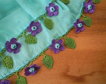 aqua cotton scarf with purple flowers