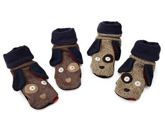 Cate and Levi Handmade Adult Dog Slippers - Size XL (Premium Reclaimed Wool), Colors Will Vary