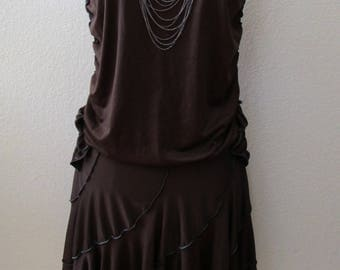 Dark brown stretch strapless dress with same fabric made roses decorative on both side made by local designer (vn11)