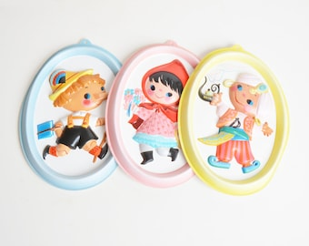 Vintage 50s 60s BIG EYED Vacuform Fairy Tale Wall Plaques by Johnson and Johnson in Box Set of 3