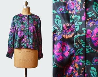 Vintage 80s Oscar de la Renta Floral Print Oversized Satin Blouse / button up blouse / button down shirt / pink green purple black / m l