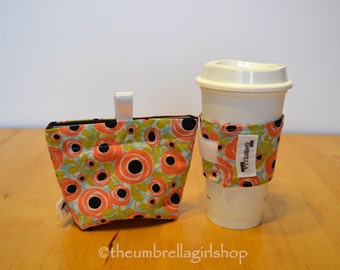 Reusable Medium Snack Bag and Coffee Cup Sleeve - Spring Flowers