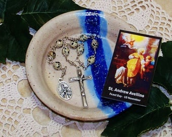 Unbreakable Catholic Chaplet of St. Andrew Avellino - Patron Saint of Stroke Victims and Against Sudden Death - Heirloom Chaplet