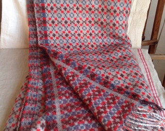 Welsh Wool blanket, Handloomed Throw Checkered Grey, Blue & Red Quilt, Winter Bedding. Rustic Home Decor Lambswool Blanket