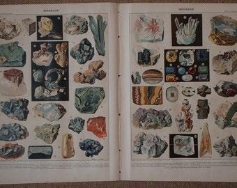 Pair of Large Vintage FRENCH MINERAL PRINTS by Vignerot Demoulin Antique illustrations from Nouveau Larousse Illustre published 1932