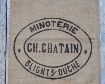 Old French Grain Sack 2 printed panels in EXCELLENT UNUSED CONDITION. Suitable, for grain sack pillows, flour sack curtains & upholstery