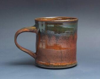 Handmade pottery coffee mug, ceramic mug, stoneware tea cup 14 oz mug deep glossy tangerine red flake  3915