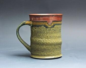 Handmade pottery coffee mug, tea cup, mottled green/amber 14 oz 4021