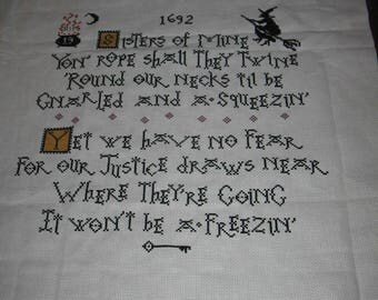 Large Salem Sisters II Witch Trials 1692 Finished Completed Cross Stitch