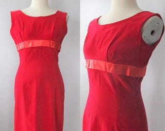40% OFF SALE Vintage 1950's Lipstick Red Party Dress / Size Small Red Velvet Mini Skirt VALENTINES Day Sleeveless Dress