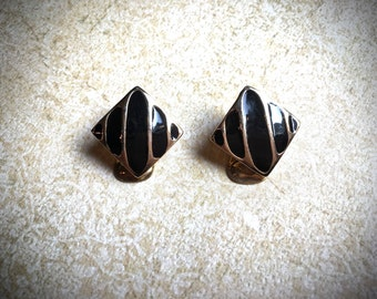Black and Gold Enamel clip on Earrings