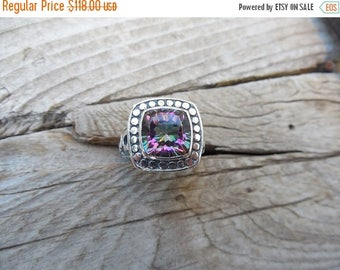 ON SALE Beautiful Mystic topaz ring handmade in sterling silver