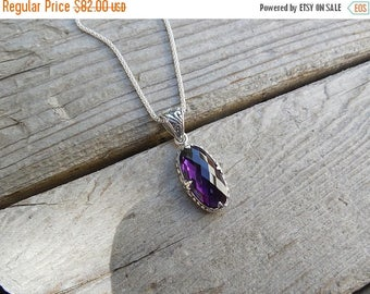 ON SALE Amethyst necklace handmade in sterling silver with a deep purple amethyst stone