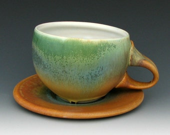 CUP AND SAUCER #1 - Coffee Cup - Cappuccino Cup - Tea Cup - Cup With Saucer - Latte Cup - Earthy Colors - Studio Pottery