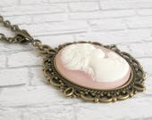 Pink Cameo Necklace Lady Profile Cottage Chic Pendant Vintage Style Jewelry