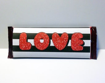 LOVE Valentine's Candy Bar Wrapper ~ Printable // Instant Download Valentine gift