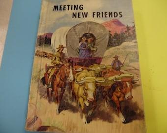 Meeting New Friends , school book, vintage school book, old school book, school reader