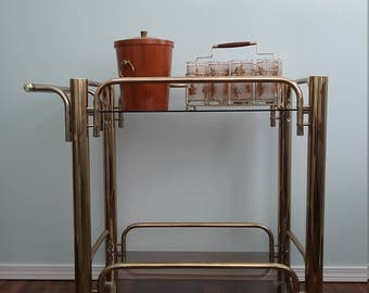 Vintage Bar Cart, Tea Cart, Serving Cart, Gold Brass Plated  Late 70s 80s Two Tier Oval Brass Glass Bar Cart Serving Caddy