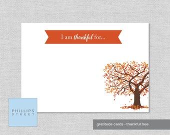 "gratitude cards - printable THANKSGIVING  ""i am thankful for"" cards - dinner table cards - gratitude activity - instant download"