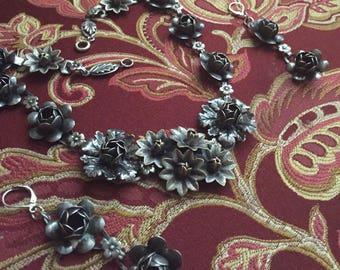 Art Nouveau Coro Sterling Flower Necklace set